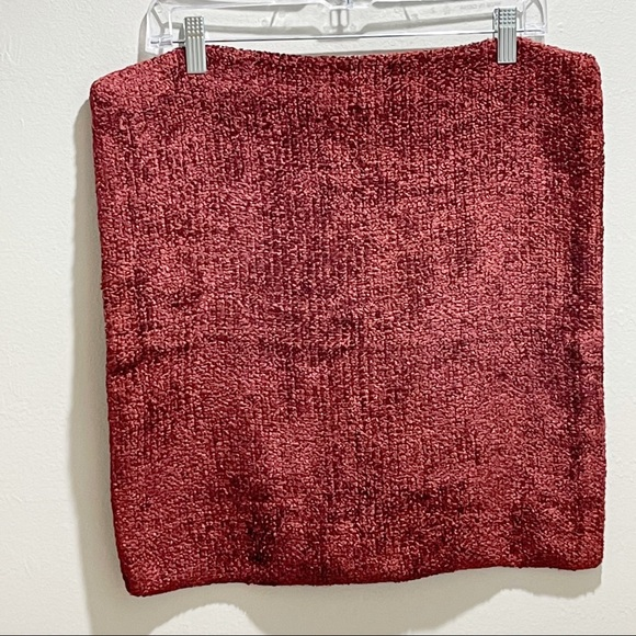 POTTERY BARN Square Chenille Burgundy Pillow Cover